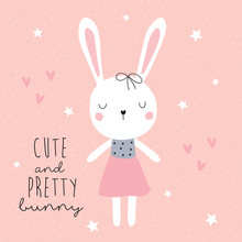 Cute And Pretty Bunny Vector Illustration