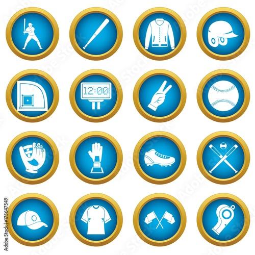 Photo  Baseball icons blue circle set