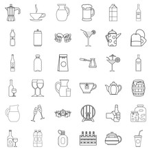 Barrel Icons Set, Outline Style