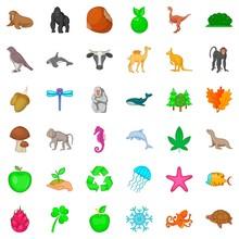 Our Globe Icons Set, Cartoon Style
