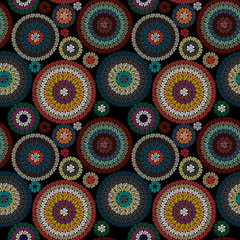 Panel Szklany Podświetlane Vintage Embroidery Seamless Pattern Ornament with Colored Circles on a Black Background. Vector Illustration