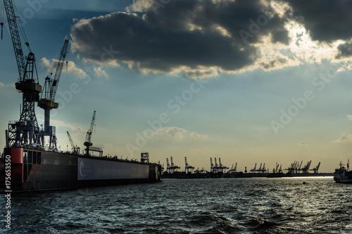 Plakat Obiekty portowe w Hamburgu