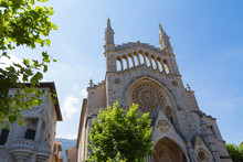 Soller, Mallorca. The Medieval Gothic Cathedral Bartholomew Church In Soller,