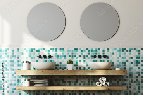 Fototapeta Zielona łazienka wnętrza, podwójna umywalka