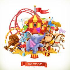 Cyrk, śmieszne zwierzęta. Słoń, małpa, lew, koń. Wektor 3d