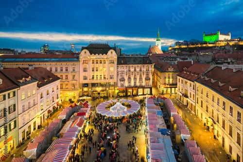 Canvas Print Christmas market in Bratislava, Slovakia