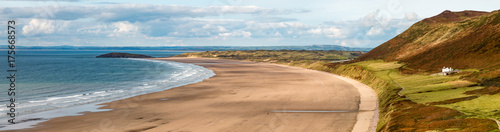 Fotografie, Obraz  Panoramic view of a large, empty sandy beach