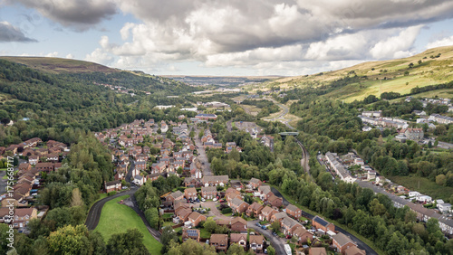 Welsh valley town of Ebbw Vale viewed from the air Canvas-taulu