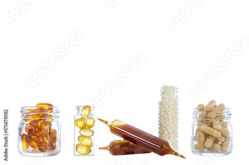 Glass container,with,Pills medicine bulb, fish oil capsules and