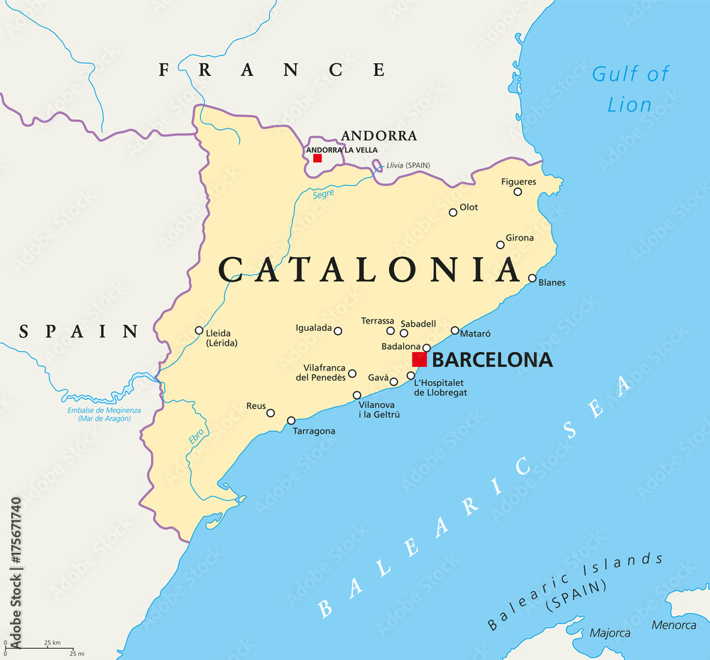 Independent Catalonia political map on the northeastern extremity of ...