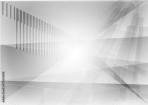 Fotografie, Obraz  Triangle and straight line gray geometric abstract background vector