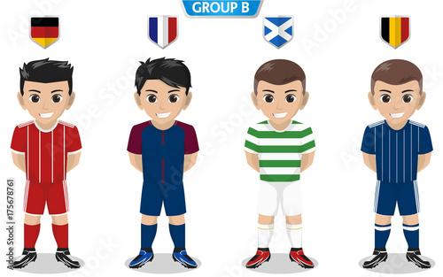 Vector Character of Football / Soccer Team for European Championship Group B Wallpaper Mural