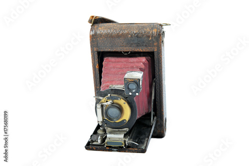Photo  A dusty, used 1905 film camera.