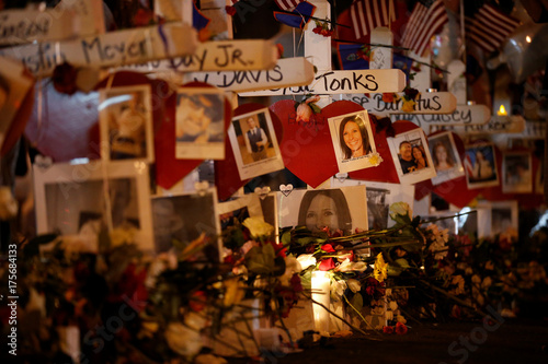 White crosses set up for the victims of the Route 91 Harvest music