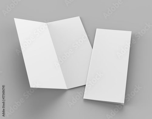 Valokuvatapetti Bi fold or  Vertical half fold brochure mock up isolated on soft gray background