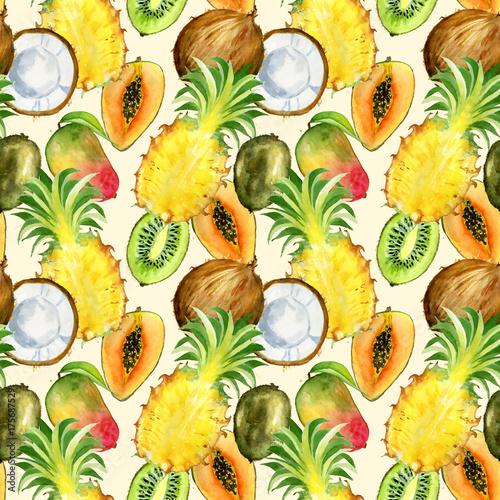 Materiał do szycia Wzór z egzotycznych owoców tropikalnych. plasterek kiwi, mango, ananas i kokos