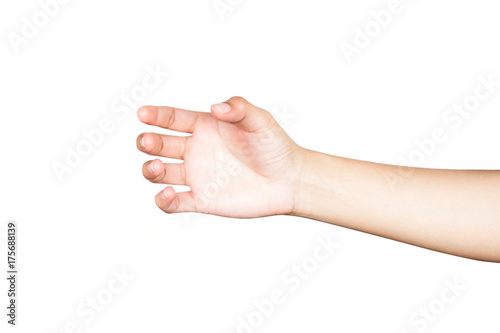 Fotografía  Human  hand holding something like a glass or bottle on white background