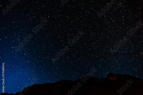 Plakat Wiele zaczyna się na niebieskim, ciemnym nocnym niebie jako tło kosmosu.