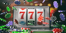 Slot Machine On A Laptop Scree...