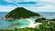 Tropical beach paradise: Beautiful deserted white sand beach with the tropical sea (Koh Nang Yuan Island, Thailand)