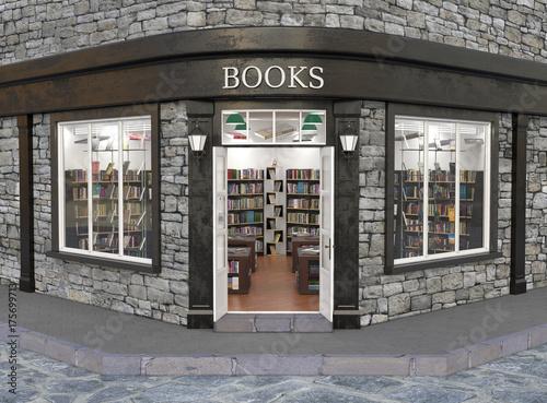 Photographie  Books store exterior, 3d illustration