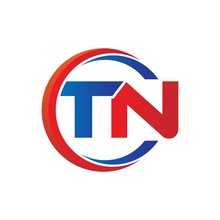 Tn Logo Vector Modern Initial Swoosh Circle Blue And Red
