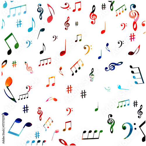 Music symbols seamless background design  Isolated colorful