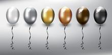 Set Of 6 Metallic Helium Ballo...