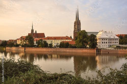 Obraz na dibondzie (fotoboard) Miasto Wrocław - rzeka i kościoły