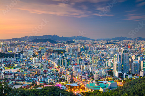 Seoul. Cityscape image of Seoul downtown during summer sunset. Poster