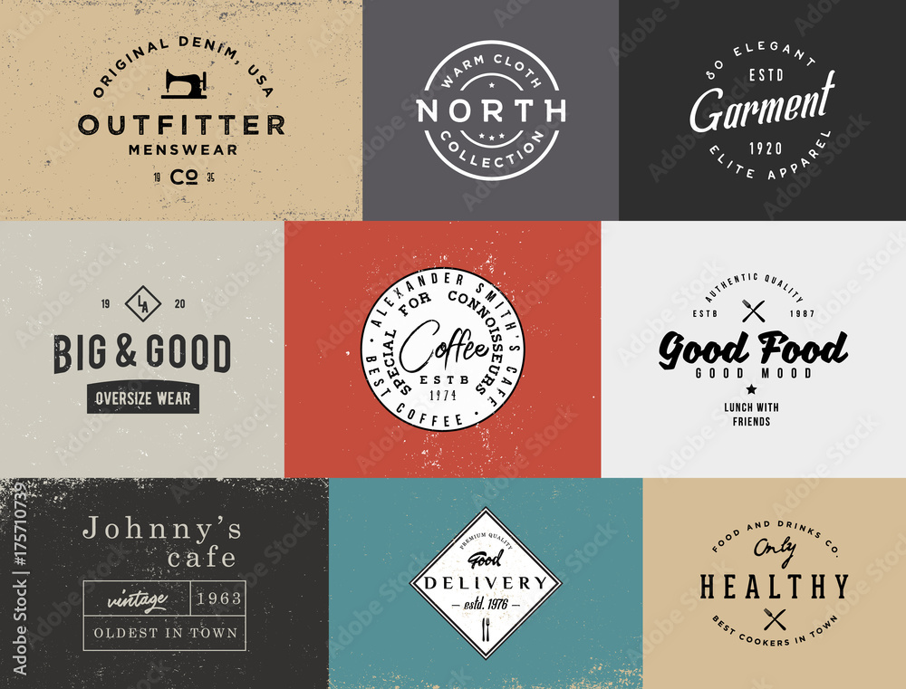 Fototapety, obrazy: Different vintage logo templates with different colored backgrounds.