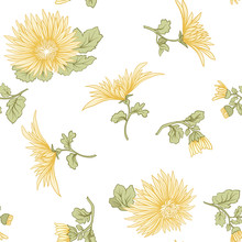 Chrysanthemum. Seamless Pattern Of Yellow Japanese Chrysanthemum