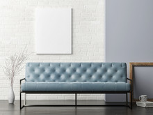 Mock Up Poster On White Brick Wall, Blue Sofa Living Room, 3d Illustration