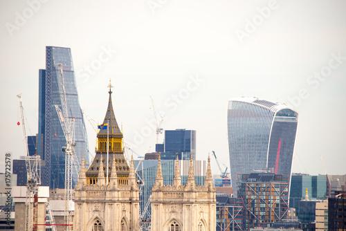 Obraz na dibondzie (fotoboard) Nowa londyńska linia horyzontu, widok na powietrze