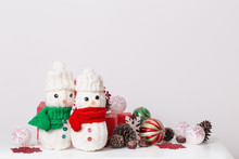 Snowmen Decoration With Red Gi...