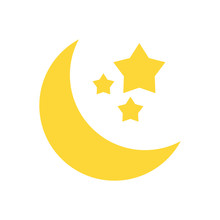 Crescent Moon And Stars Icon I...