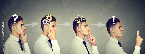 Obraz Emotional intelligence. Sequence of a business man thinking, finding solution to a problem with gear mechanism, question, exclamation, light bulb - fototapety do salonu