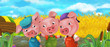 Cartoon scene three pig brothers working in the field - illustration for children
