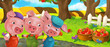 Cartoon scene three pig brothers standing in the garden - illustration for children