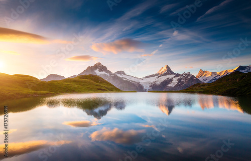 Aluminium Prints Alpine view of the Mt. Schreckhorn and Wetterhorn. Location Bachalpsee in Swiss alps, Grindelwald valley, Europe.
