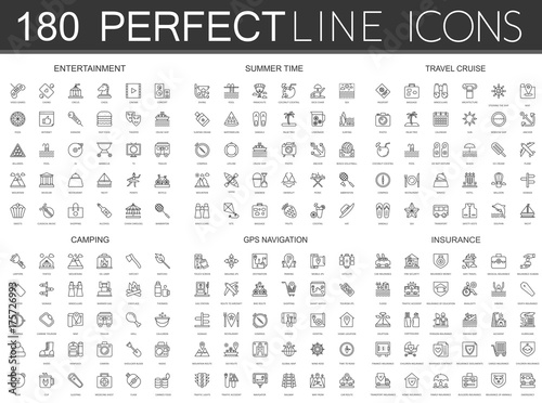 Fotografia 180 modern thin line icons set of entertainment, summer time, travel cruise, camping, gps navigation, insurance