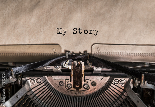 My Story typed words on a vintage typewriter Canvas Print