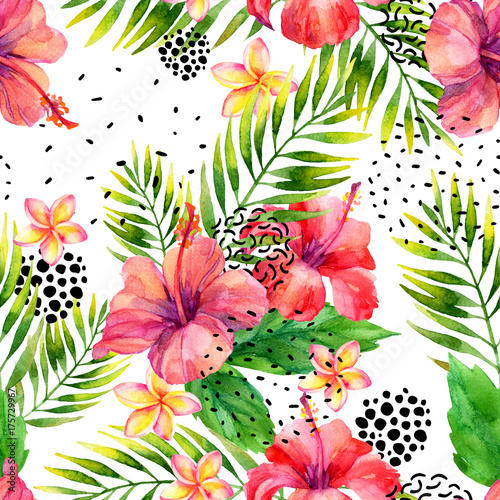 Poster Graphic Prints Watercolor tropical leaves and flowers arrangement background.