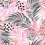 Akwarela różowy kolorowy i graficzny obraz liści palmowych. - 175730314
