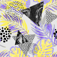 Fototapeta Wzory geometryczne Abstract tropical leaves, flower with watercolor rough grunge texture, doodle elements on white background.
