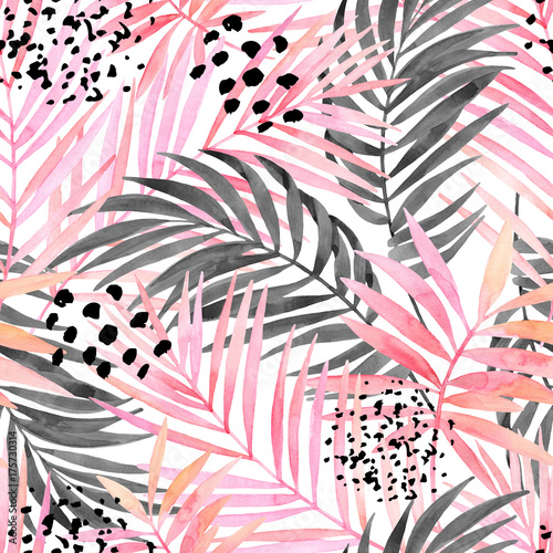 Fotobehang Grafische Prints Watercolour pink colored and graphic palm leaf painting.