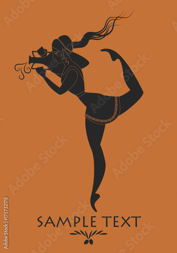 Ancient Greece girl carrying an amphora. Silhouette Canvas Print