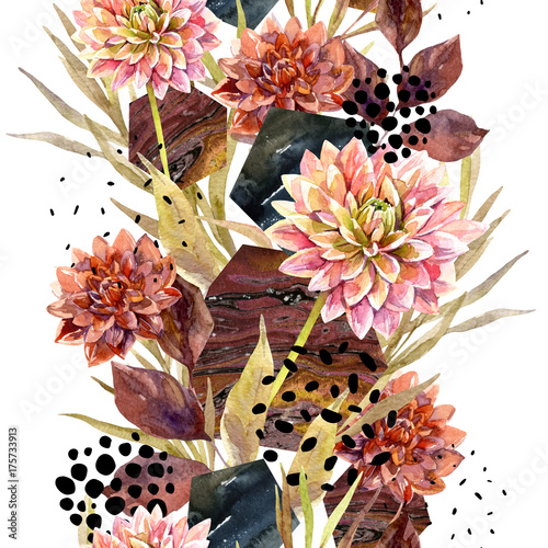 Wall Murals Graphic Prints Autumn watercolor floral arrangement