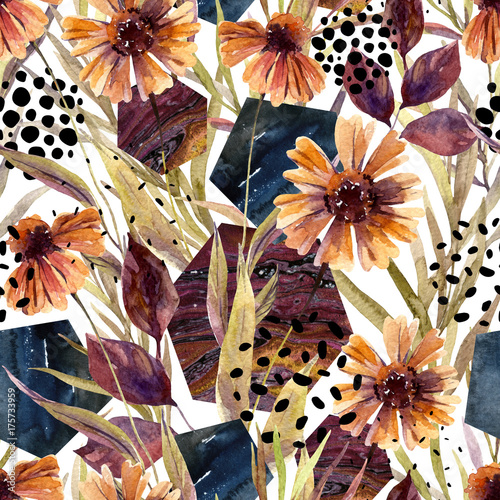 Poster Graphic Prints Autumn watercolor floral arrangement, seamless pattern.