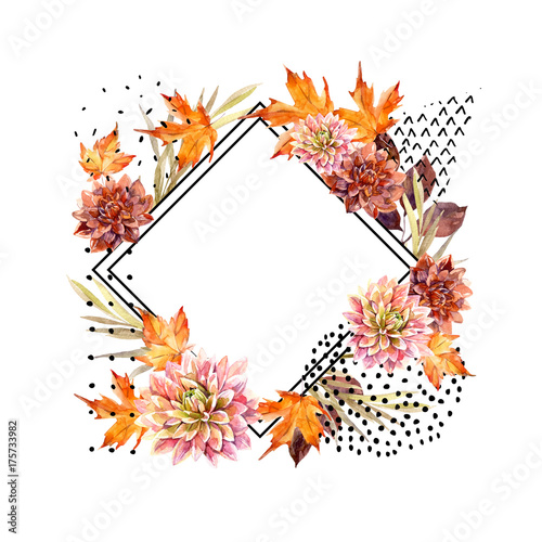 Deurstickers Grafische Prints Autumn watercolor floral arrangement